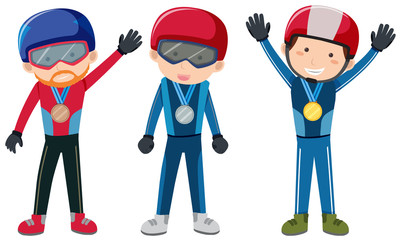 Winter sport theme with people and medals