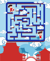 Maze game template with chinese boy and girl