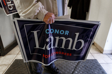 A Carnegie resident leaves a campaign event for Congressional candidate Conor Lamb