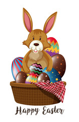 Easter poster design with bunny and eggs in basket