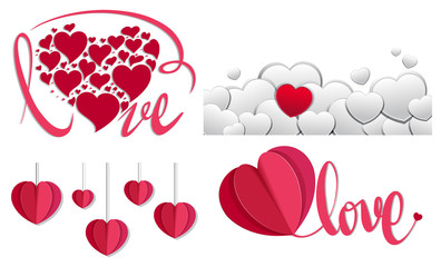 Red and white hearts background design
