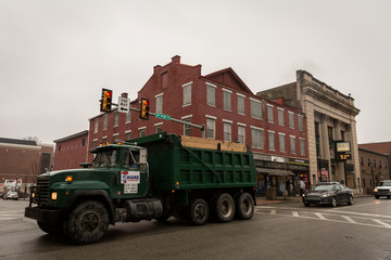 A truck passes through the intersection of Washington Street and High Street in Carnegie