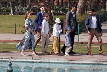 Canadian Prime Minister Justin Trudeau, his wife Sophie Gregoire Trudeau, their daughter Ella Grace and sons Hadrien and Xavier visit the Taj Mahal in Agra