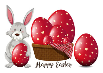 Easter poster design with red eggs and bunny