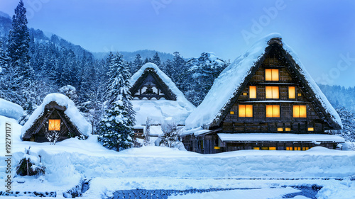 Wall mural Shirakawa-go village in winter, UNESCO world heritage sites, Japan.