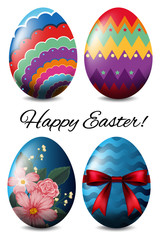 Easter poster design with four colorful eggs