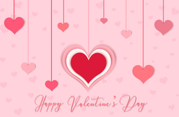 Happy valentine's day card with pink heart