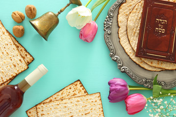 Pesah celebration concept (jewish Passover holiday). Traditional book with text in hebrew: Passover Haggadah (Passover Tale).