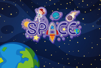 Word design for space with earth and astronaut