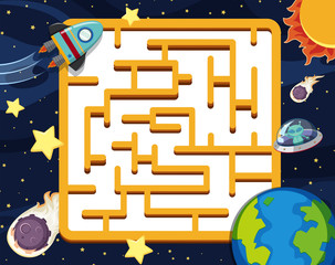 Puzzle game template with space background