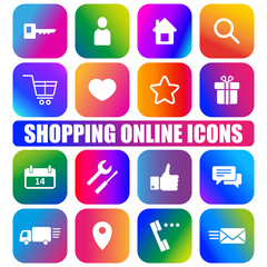 Shopping online icons on gradient buttons. E-commerce icons. Vector illustration.