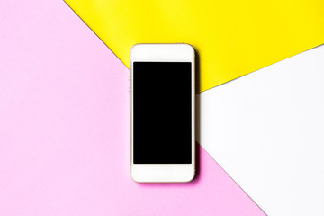 Flat lay phone blank screen and flowers on top view,background in pastel colors.clipping path inside