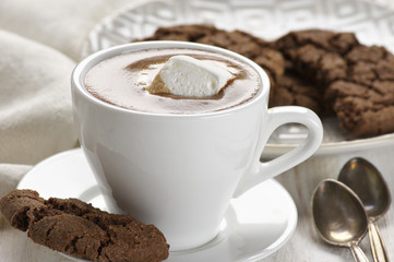 Hot chocolate and chocolate crinkle cookies
