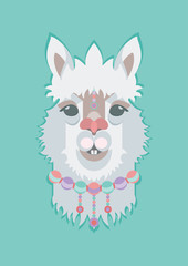 Cute adorable Alpaca or Lama face. Perfect print for fabric, t-shirt, poster, greeting cards, invitations, children room decoration, etc. Vector Illustration