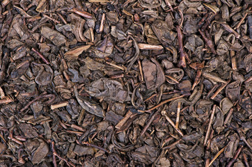 Dried tea leaves close up