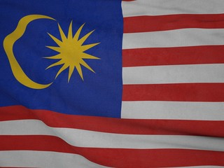 Malaysia flag blowing in the wind. Background texture.
