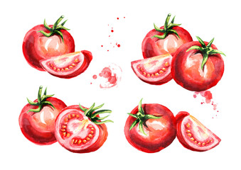 Ripe tomatoes set. Watercolor hand drawn illustration, isolated on white background