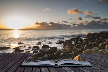 Creative book image of Beautiful sunrise landscape image of Church Ope Cove in Portland Dorest England Wall mural