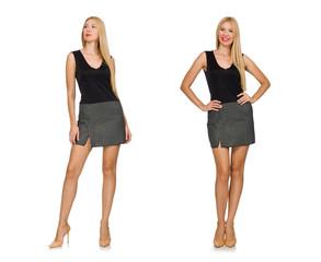 Blond hair model wearing gray skirt isolated on white