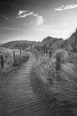 Beautiful black and white sunrise landscape image of sand dunes system over beach with wooden boardwalk
