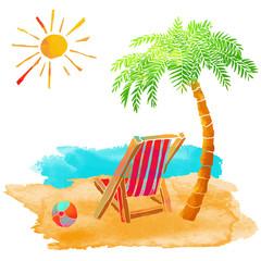 Watercolor summer beach set