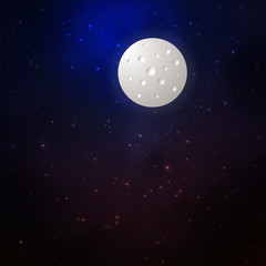 Space background with moon and stars