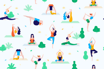 People in the park vector flat illustration. Women walk in the park and do sports, yoga and physical exercises. Park seamless pattern. Fototapete