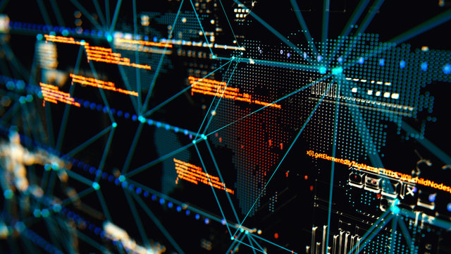 3D rendering. Abstract background concept of cyber security and attack, system crash.