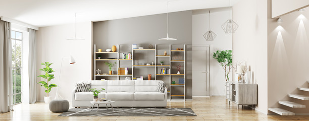 Interior of modern living room panorama 3d rendering Wall mural