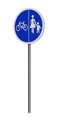deutsches Verkehrszeichen (Sonderweg): getrennter Rad- und Gehweg, auf weiß isoliert. 3d render