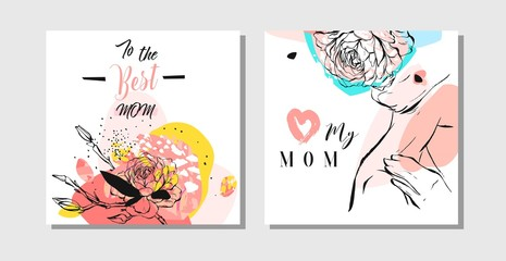 Hand drawn vector abstract greeting cards set with Happy Mother s Day typography and woman figure with abstract flowers isolated on white background,feminine design for card,invitation,save the date.