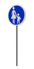 deutsches Verkehrszeichen (Sonderweg): Gehweg, auf weiß isoliert. 3d render