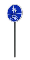 deutsches Verkehrszeichen (Sonderweg): gemeinsamer Rad- und Gehweg, auf weiß isoliert. 3d render