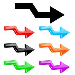 Broken arrows. 3d colored shiny icons