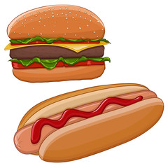 Hamburger and hot dog. Fast food