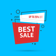 Best sale banner template in colorful memphis style on bright cyan background