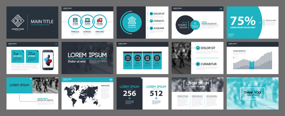 Presentation templates with infographics elements. Useful for annual reports and web design.