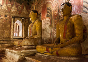Buddha statues in the temple of Sri Lanka