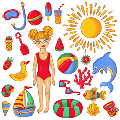 Summer beach doodle icons and girl in swimwear vector illustration
