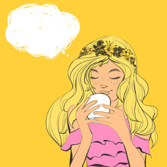 Vector beautiful young woman with freckles and flowers diadem on curly hair drinking tea or coffee. Hand drawn illustration with bubble for text.