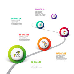 Vector road infographic with circles. Timeline template with 5 markers on a curved road line. Business data visualization. Process chart. Abstract diagram.