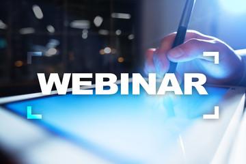 Webinar. E-Learning, Online Education concept. Personal development. Virtual screen.