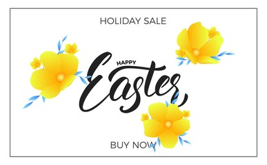 Easter. Sale banner background with trendy spring flowers and Happy Easter lettering. Easter sale design template