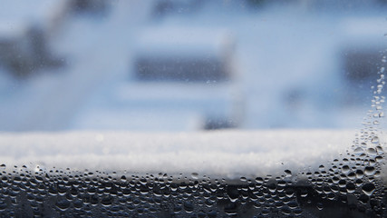 .condensate droplets on the window