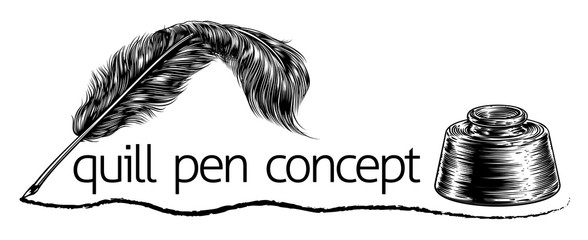 Quill Feather Pen and Inkwell Concept