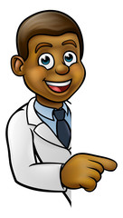 Scientist Cartoon Character Pointing at Sign
