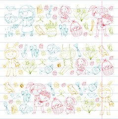 Spring children banners Kids play and grow. Kindergarten, school. Easter celebration with children. Bunny, rabbt, bird, boys and girls