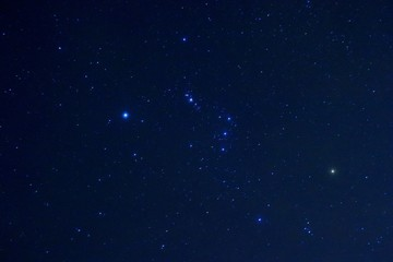 Orion constellation in the New Zealand sky