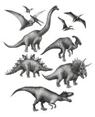 Dinosaurs in stippling technique