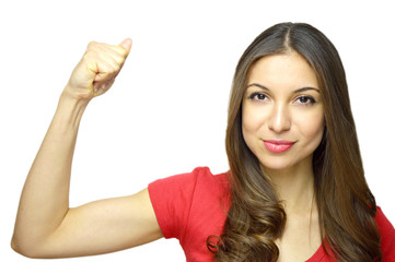 International Women's Day, March 8. Young woman showing muscles isolated on white background. Strong woman concept.